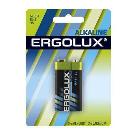 """Элемент питания алкалиновый """"крона"""" 6LR61 BL-1 6LR61 BL-1 9В Alkaline (блист.1шт) Ergolux 11753"""