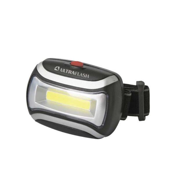 Фонарь налобный LED 5380 (3Вт COB LED 3 режима черн. пласт. пакет) Ultraflash 12870