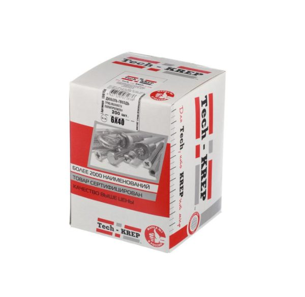 Дюбель-гвоздь 6х40 с грибовидной манжетой полипропилен (уп.50шт) коробка Tech-Krep 112709