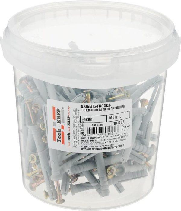 Дюбель-гвоздь 6х60 с потайной манжетой полипропилен (уп.100шт) ведро Tech-Krep 101468