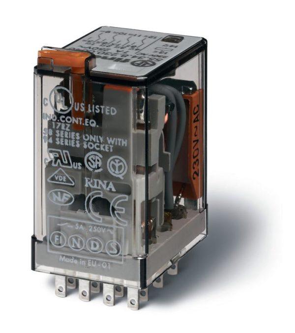 Реле миниатюрное универсальное электромеханич. монтаж в розетку 4CO 7А AgNi 12В DC RTI опции: кнопка