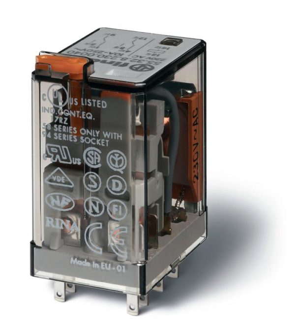 Реле миниатюрное универсальное электромеханич. монтаж в розетку 2CO 10А AgNi 24В DC RTI опции: кнопк