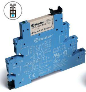 Реле электромеханическое интерфейсный модуль 1CO 6А AgNi 24В DC (чувствит.) IP20 винт. клеммы FINDER