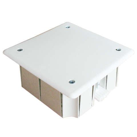Коробка распределительная СП 92х92х40мм для гипсокартона 8 выходов крышка на винтах пластик. лапки E