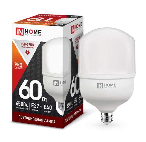 Лампа светодиодная LED-HP-PRO 60Вт 230В 6500К E27 5400Лм с адаптером IN HOME 4690612031132