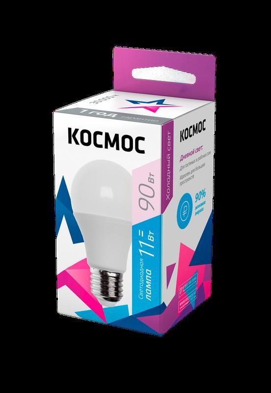 Лампа светодиодная A60 11Вт 6500К E27 220В КОСМОС LkecLED11wA60E2765