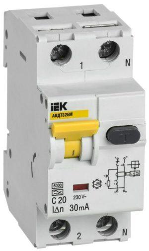 Выключатель автоматический дифференциального тока C 20А 30мА АВДТ32EM ИЭК MVD14-1-020-C-030