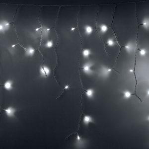 Гирлянда Айсикл (бахрома) светодиодный, 2,4х0,6м, эффект мерцания, прозрачный провод, 220В, диоды БЕЛЫЕ, NEON-NIGHT