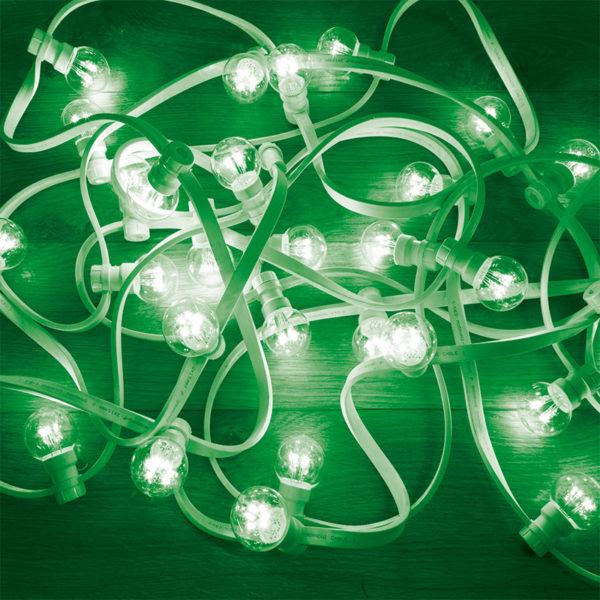 Гирлянда LED Galaxy Bulb String 10м, белый КАУЧУК, 30 ламп*6 LED ЗЕЛЕНЫЕ, влагостойкая IP65