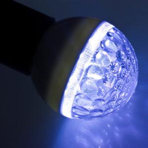 Лампа шар светодиодная,  9 SMD 3528 диодов, синяя, диаметр 50 мм., E27, 220V, IP65.  NEON-NIGHT