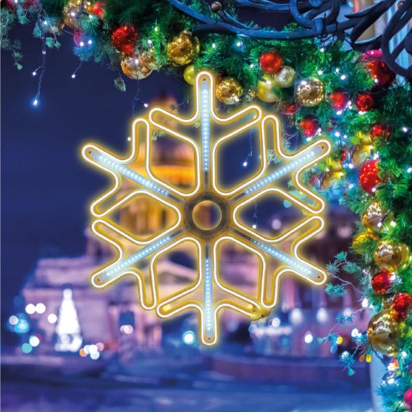 Фигура «Снежинка» из гибкого неона с эффектом тающих сосулек, 60х60 см, цвет свечения теплый белый/белый NEON-NIGHT