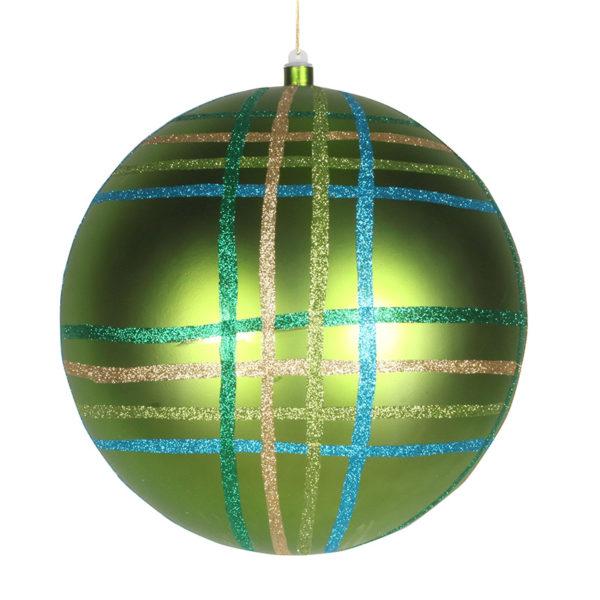 """Елочная фигура """"Шар в клетку"""" 30 см, цвет зеленый мульти"""