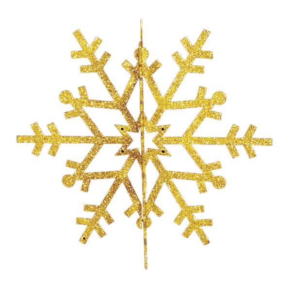 """Елочная фигура """"Снежинка резная 3D"""", 61 см, цвет золотой"""