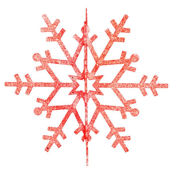 """Елочная фигура """"Снежинка резная 3D"""", 61 см, цвет красный"""