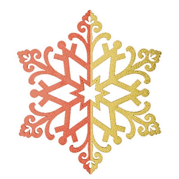 """Елочная фигура """"Снежинка сказочная""""  40 см, цвет красный/золотой"""