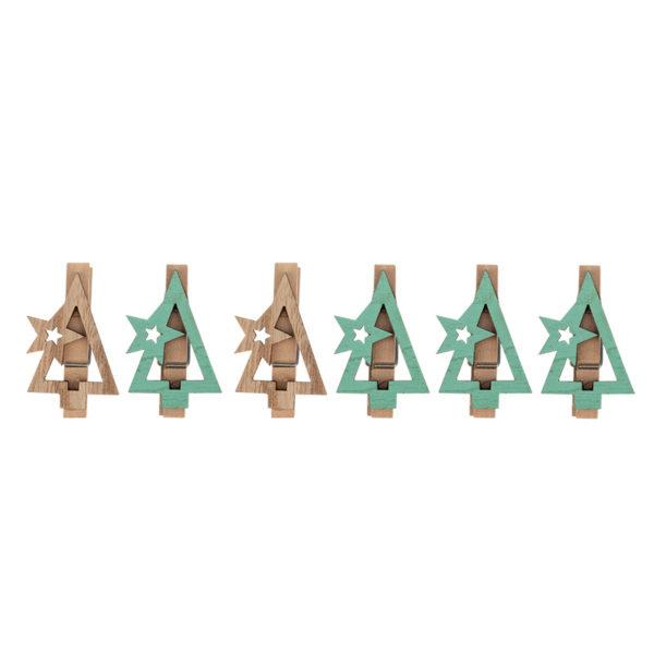 Деревянные прищепки «Новогодняя ель» 14.5x4.5x1.6 cм, 6 шт. NEON-NIGHT