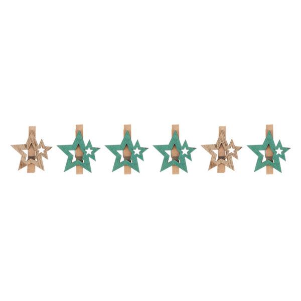Деревянные прищепки «Звездочки» 16x4.5x1.3 cм, бирюзовые 6 шт. NEON-NIGHT