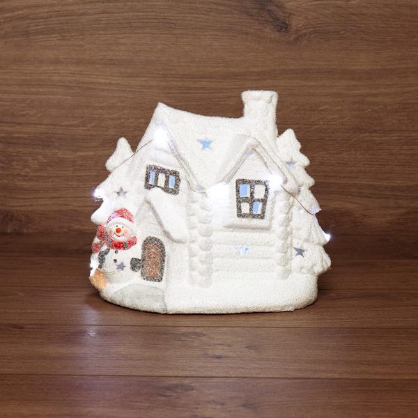 Керамическая фигурка «Домик со снеговиком» 26.2х9.5х23.3 см