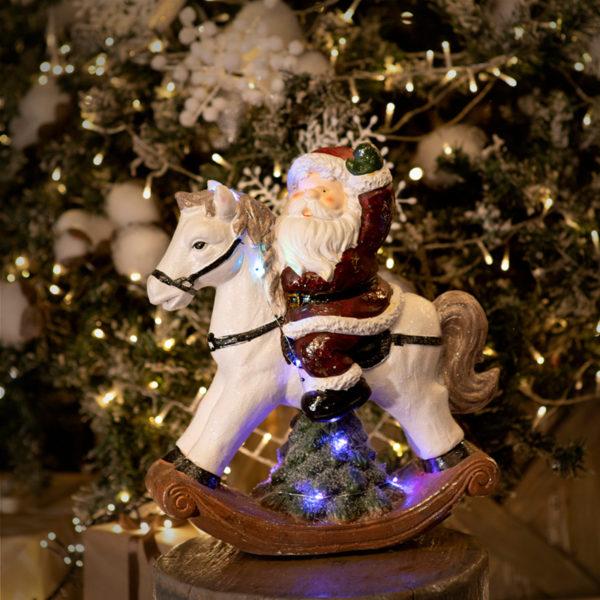 Керамическая фигурка «Дед Мороз на коне» 35х15х39.8 см