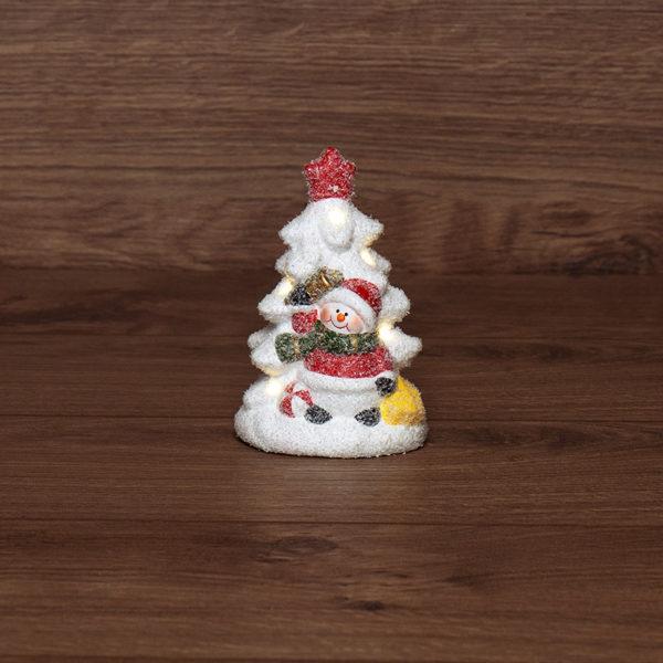 Керамическая фигурка «Елочка со снеговиком» 7.8х6.9х12.1 см
