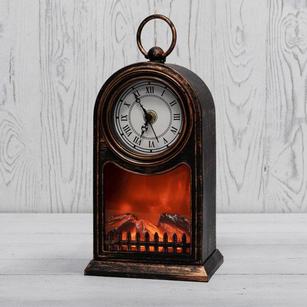 Светодиодный камин «Старинные часы» с эффектом живого огня 14,7x11,7x25 см, бронза, батарейки 2хС (не в комплекте) USB NEON-NIGHT