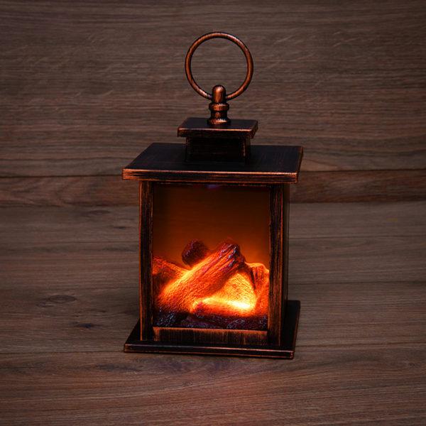 "Светодиодный камин ""Кантри"" с эффектом живого огня 12х12х18,5 см, батарейки 3хАА (не в комплекте)"