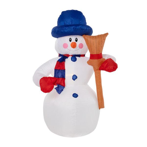 """3D фигура надувная """"Снеговик с метлой"""", размер 240 см, внутренняя подсветка 5 LED, компрессор с адаптером 12В, IP 65   NEON-NIGHT"""