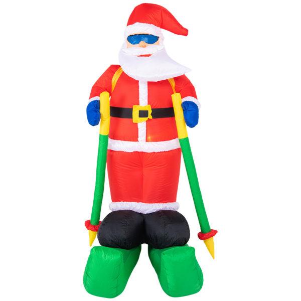 """3D фигура надувная """"Дед мороз на лыжах"""", размер 180 см, внутренняя подсветка 2 LED, компрессор с адаптером 12В, IP 65  NEON-NIGHT"""