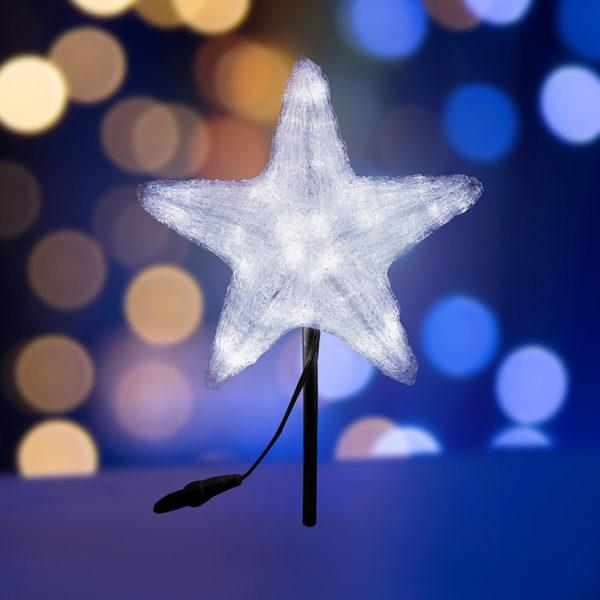 """Акриловая светодиодная фигура """"Звезда"""" 50см, со съемной трубой и кольцом для подвеса,160 светодиодов, белая, NEON-NIGHT"""
