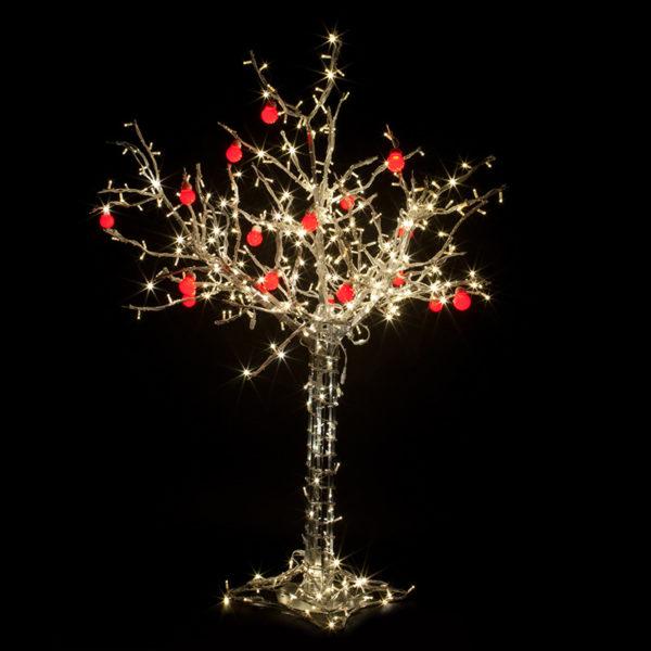 """Светодиодное дерево """"Яблоня"""", высота 1.2м, 8 красных яблок, ТЕПЛЫЙ БЕЛЫЙ светодиоды, IP 65, понижающий трансформатор в комплекте, NEON-NIGHT"""