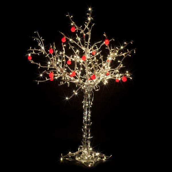 """Светодиодное дерево """"Яблоня"""", высота 1.5м, 10 красных яблок, ТЕПЛЫЙ БЕЛЫЙ светодиоды, IP 65, понижающий трансформатор в комплекте, NEON-NIGHT"""